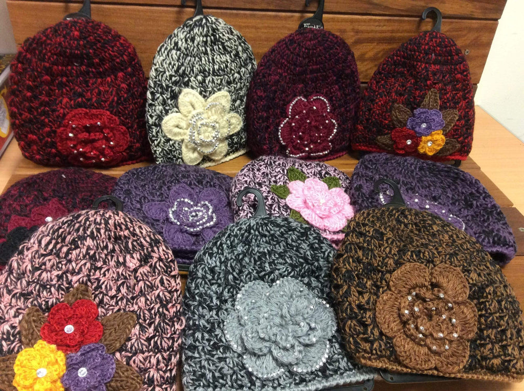 Ladies' Knitted Flower Beanie Hats