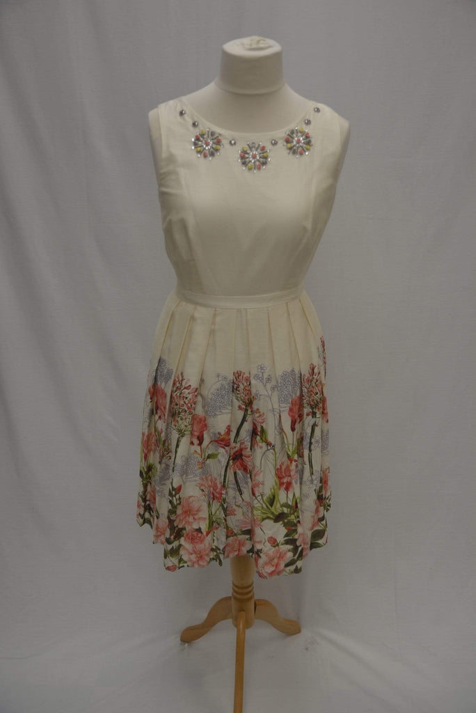 M&S Collection Summer Dress with floral print and neckline jewels UK12
