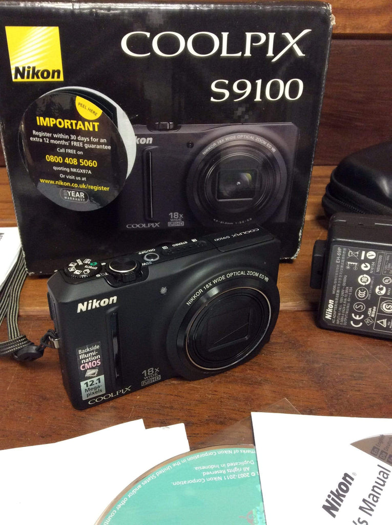 Nikon Coolpix S9100 12.1 MP compact camera boxed with accessories