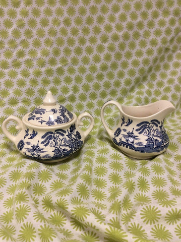 Old Willow Tableware milk jug and sugar bowl by English Ironstone