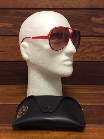 Retro Ray Bans Aviators (red frames) in leather case.