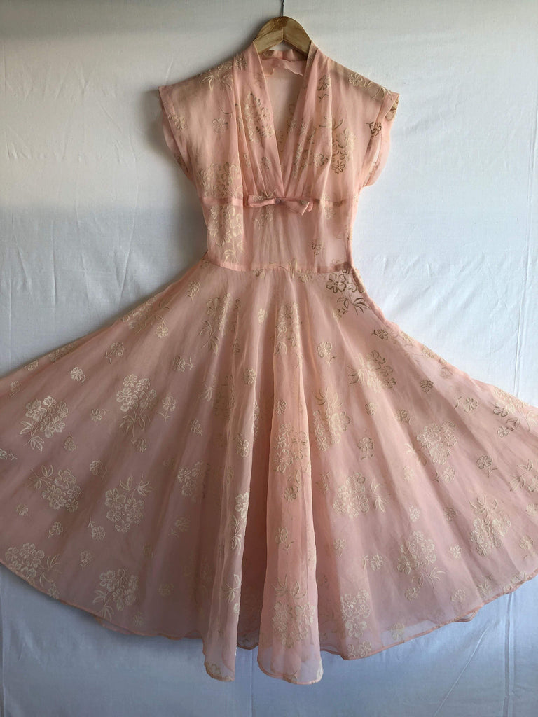 Stunning vintage 1950s sheer organza  dress