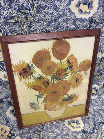 Van Gogh Sunflowers Print in 1930s art deco frame