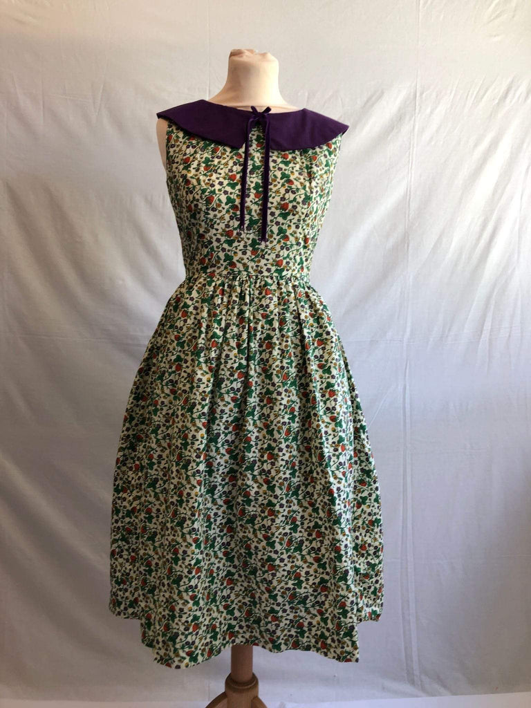 Vintage 1950s strawberry floral print swing dress