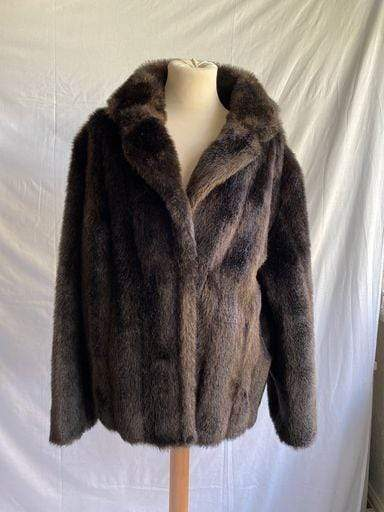 Vintage 1960s Glen Models faux fur brown coat