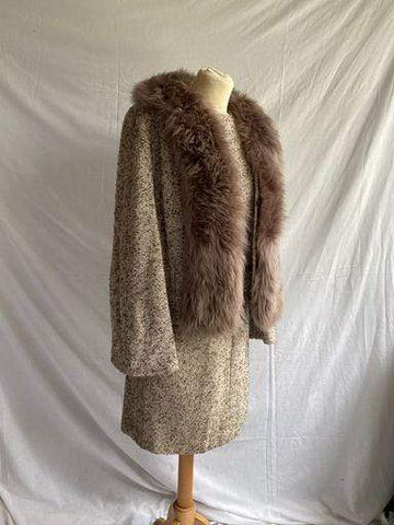 Vintage 1960s tweed and faux fur three piece suit