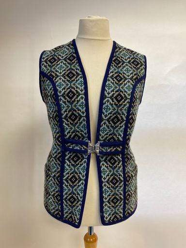 Vintage 1960s Welsh wool long tunic waistcoat