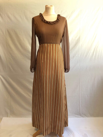 Vintage 1970s long sleeved striped maxi dress