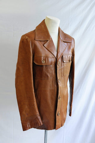 Vintage 1970s tan brown leather coat