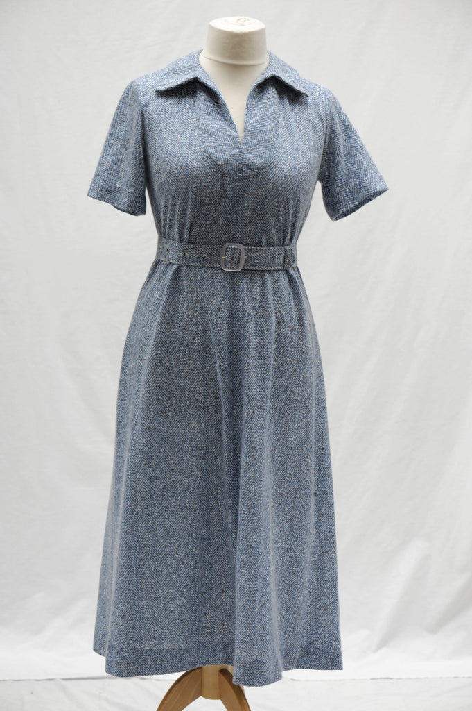 Vintage 1970s tweed look day dress