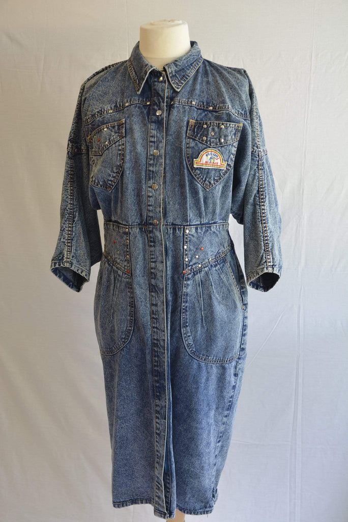 Vintage 1980s denim batwing dress with studs