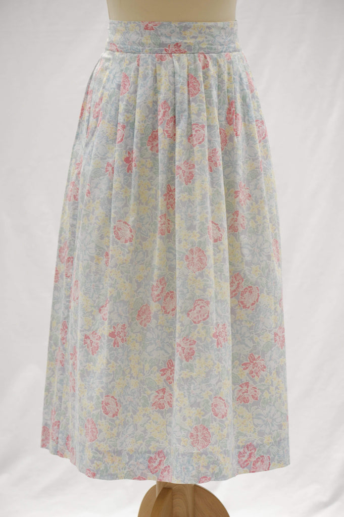 Vintage 1980s Laura Ashley floral pleated skirt