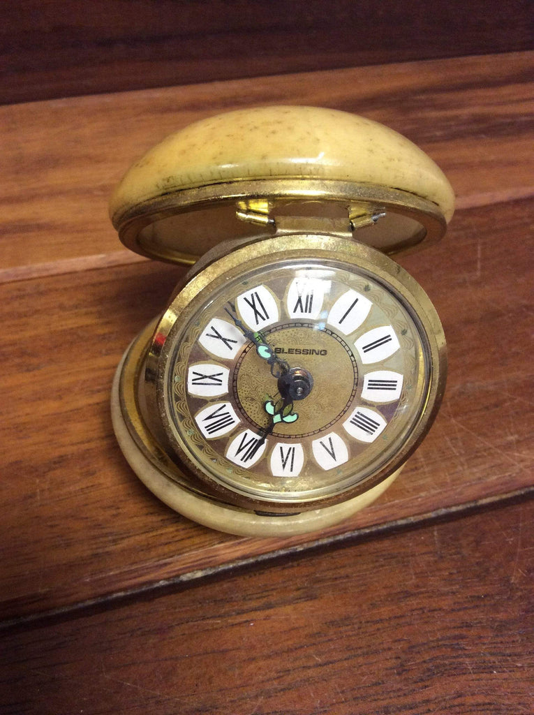 Vintage Blessing Clamshell alarm clock
