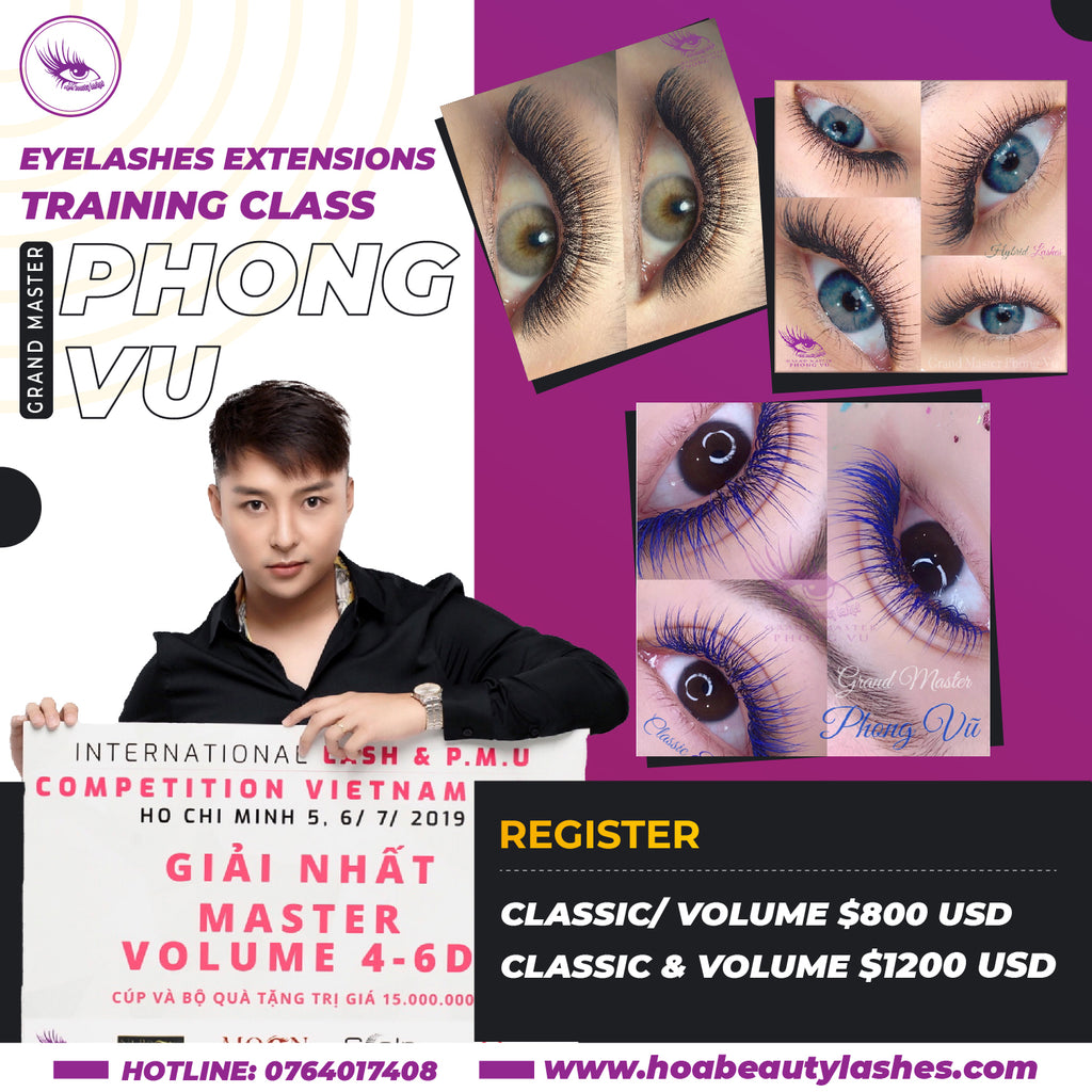 Eyelashes Extensions Training Class - Grand Master Phong Vu