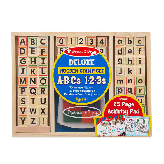 Melissa & Doug Deluxe Wooden Stamp Set - ABCs & 123s