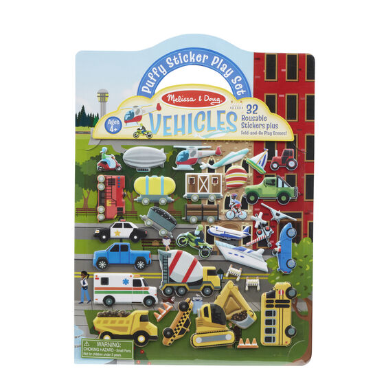 Melissa & Doug Reusable Puffy Sticker Play Set - Vehicles
