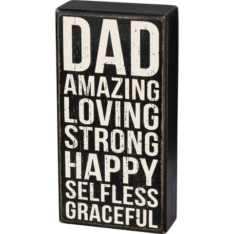 Box Sign - Dad Amazing Loving Strong Happy