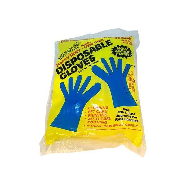 Sundown Heavy Duty Plastic Disposable Gloves - Latex Free - 1 PACK