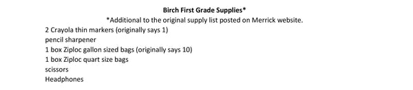 Birch School - First Grade 2020-21 School Supply Package