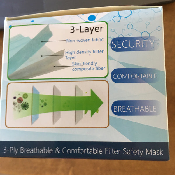 Disposable 3 Ply Face Mask - THREE (3) Boxes of 50