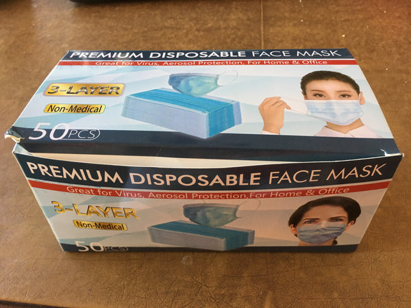 Disposable 3 Ply Face Mask - ONE Box of 50