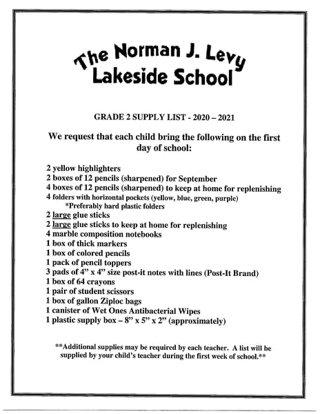 Lakeside School - Second Grade 2020-21 School Supply Package