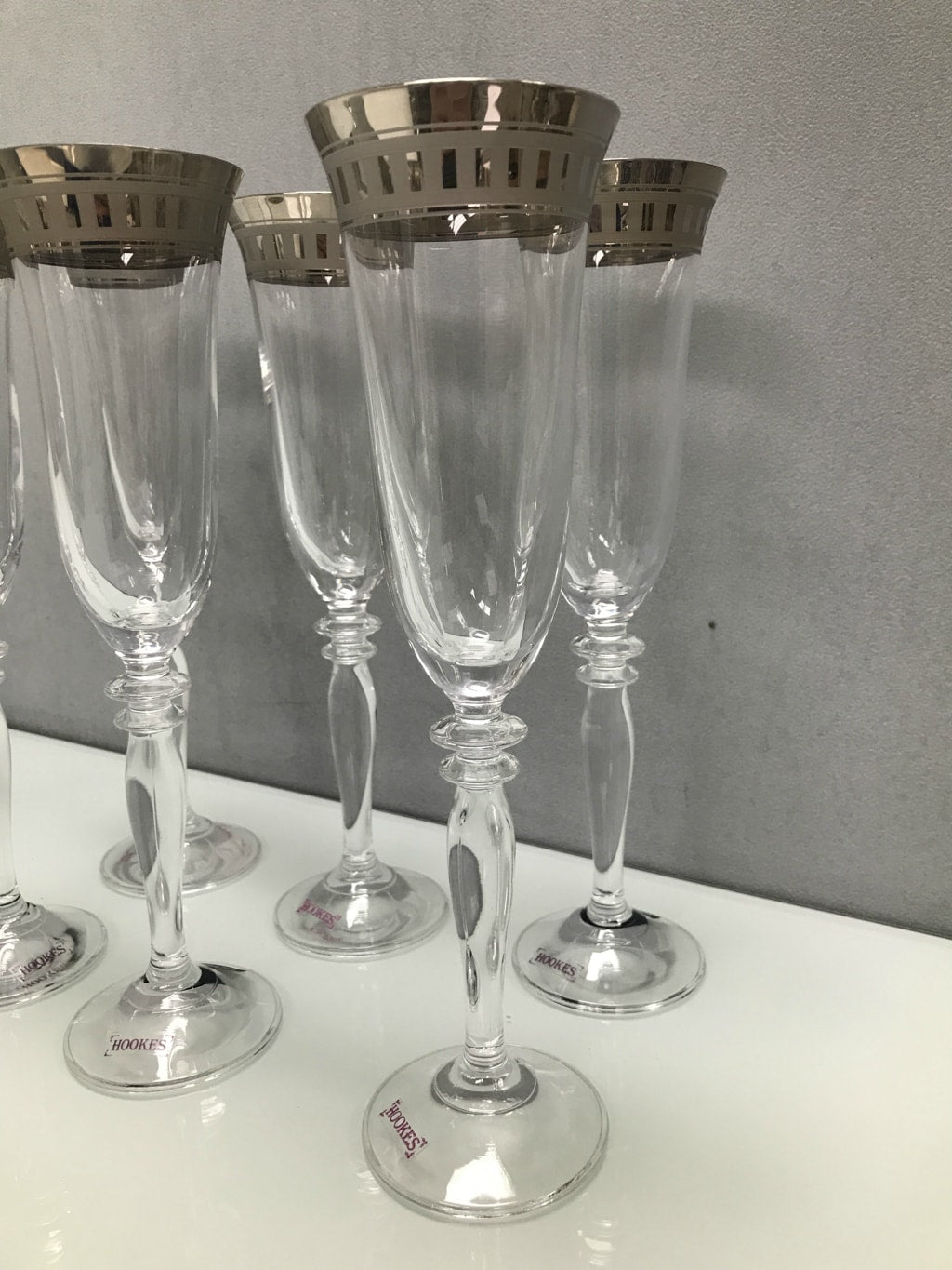 Set 6 platinum rim flutes, glass clear and platinum