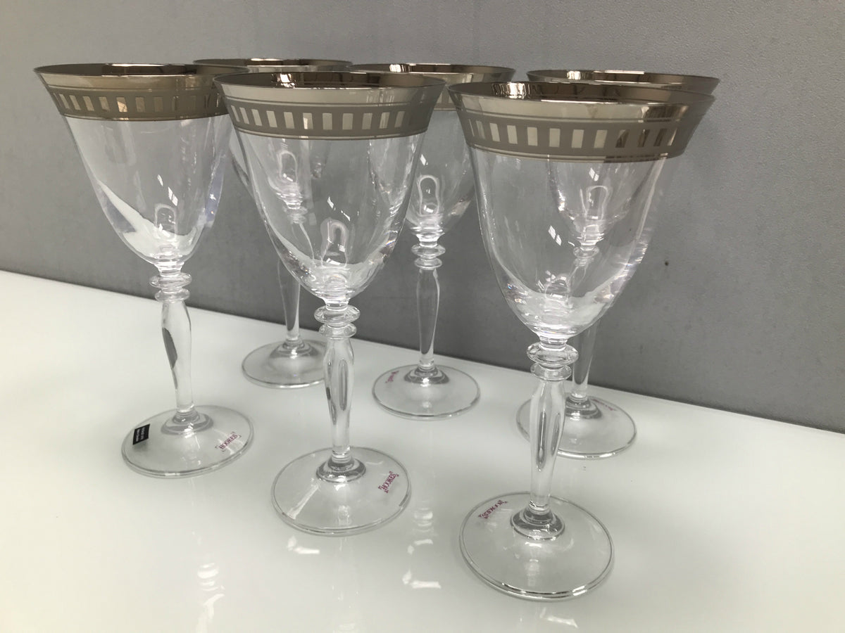 Set 6 Platinum rim wine glasses, glass clear and platinum