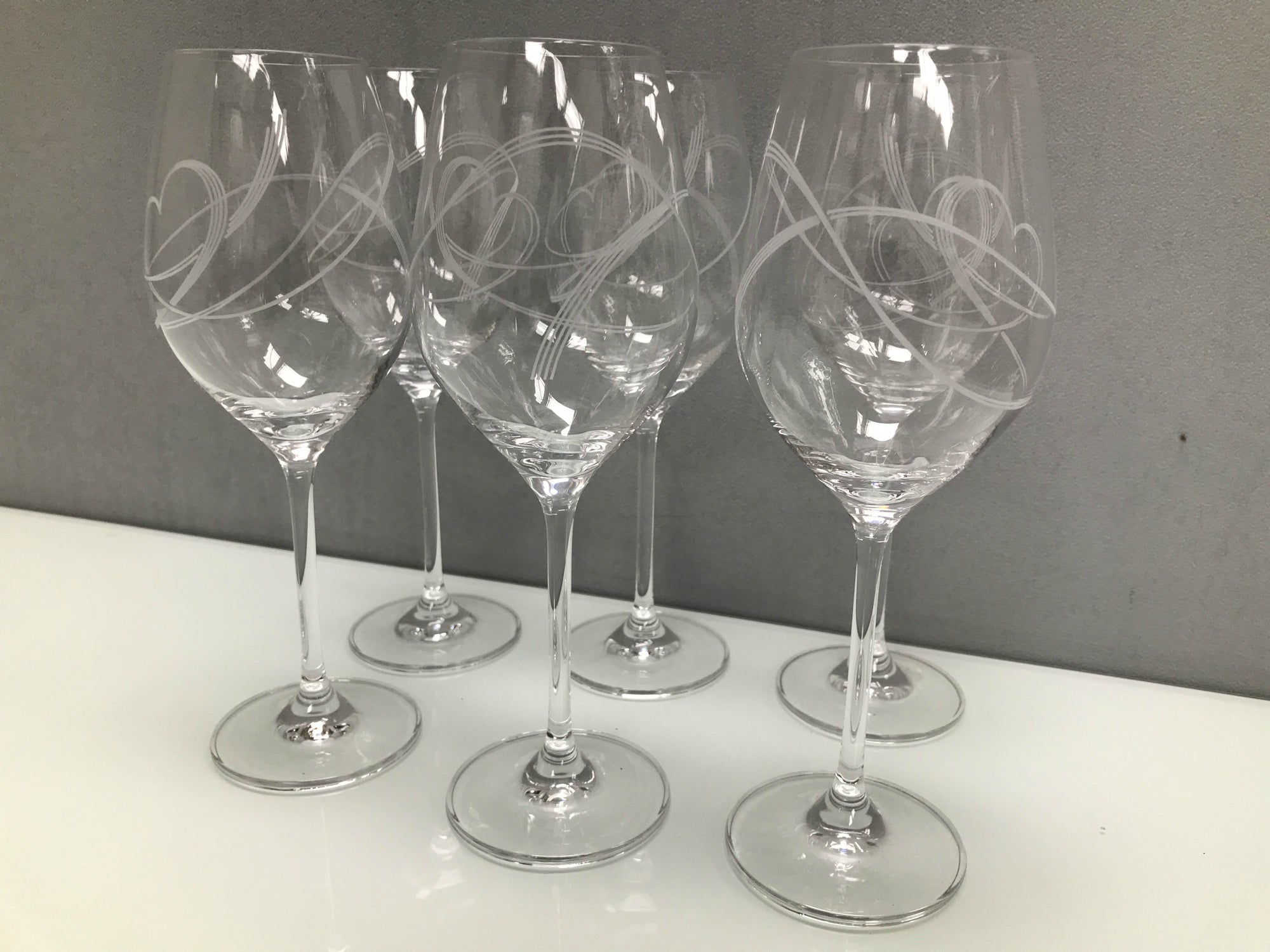 Set 6 Swirl Heart wine glasses, glass clear