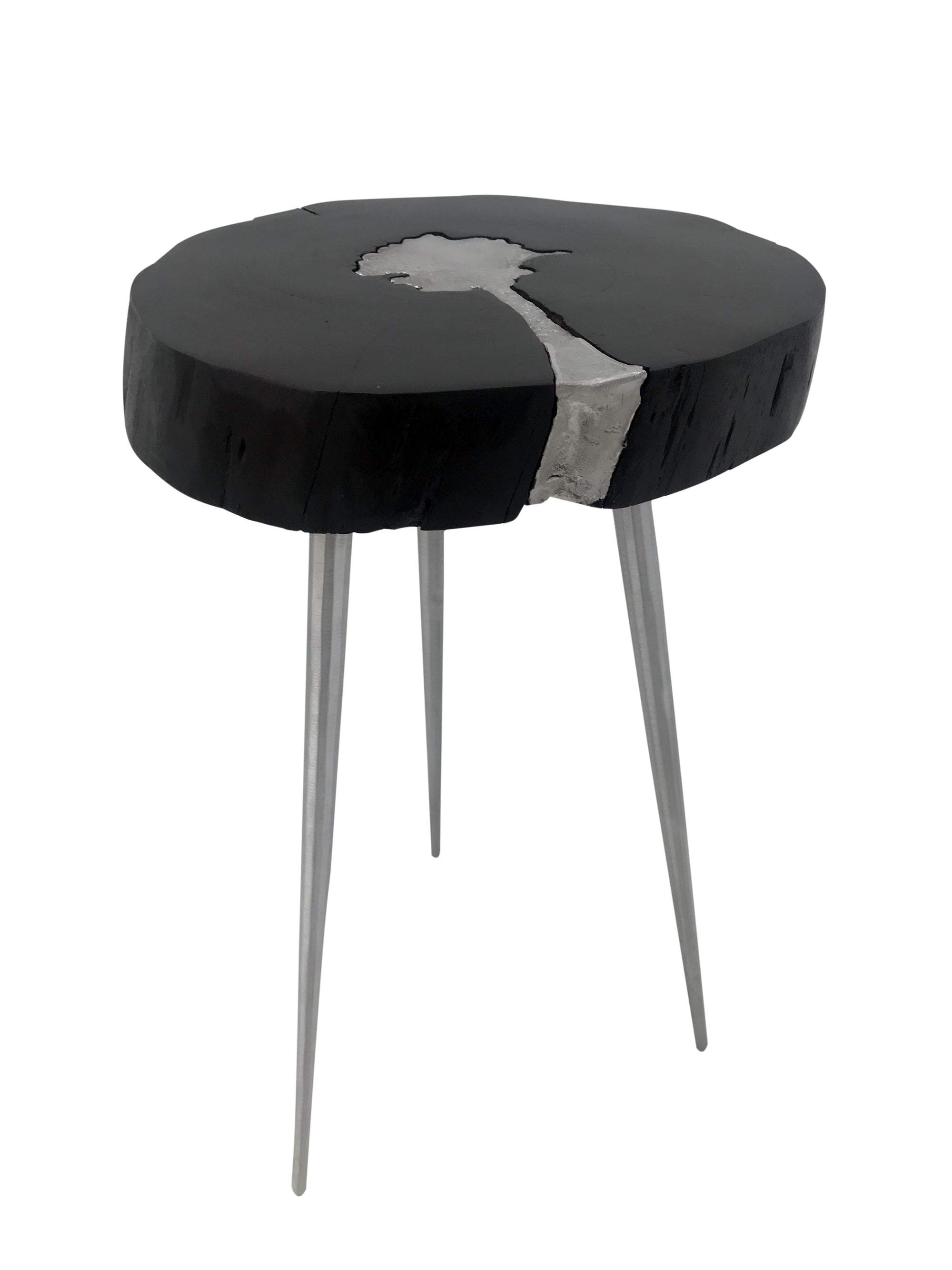 Black end table with aluminium acacia wood and aluminium black and silver