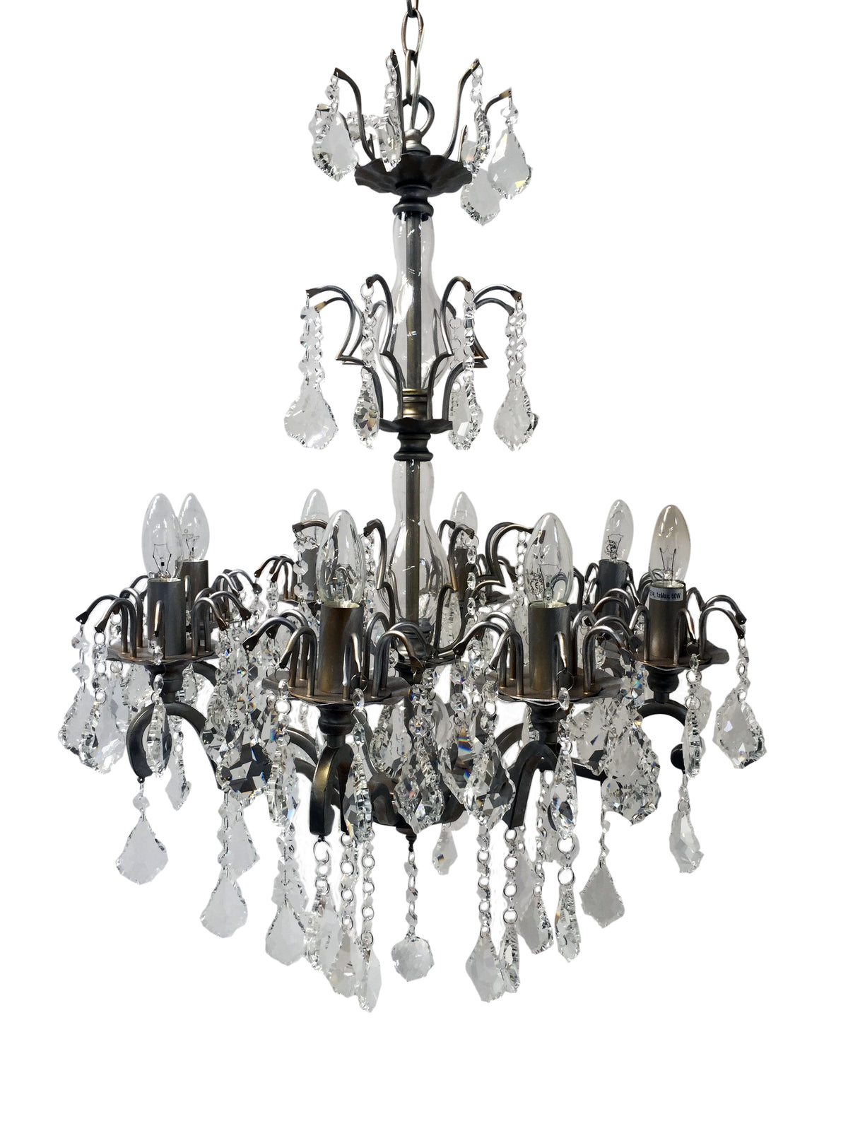 8 arm chandelier in an antique silver finish with crystal drops