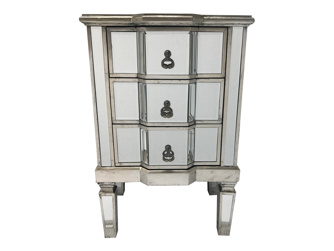 Charleston mirrored bedside with 3 drawers, wood and glass, champagne silver