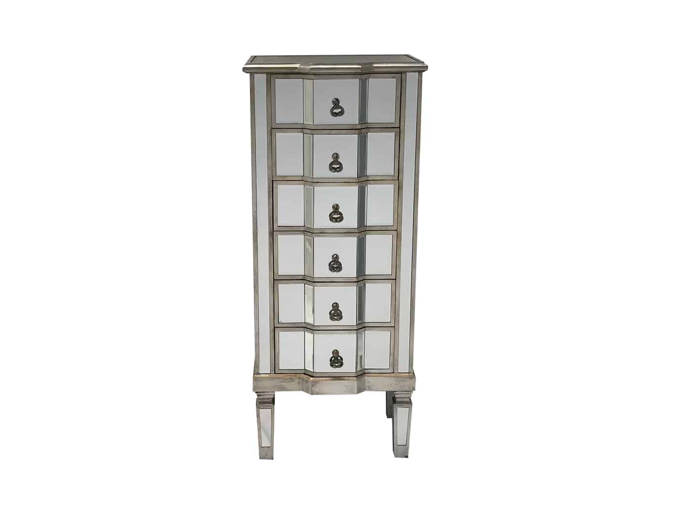 Charleston Mirrored Tallboy Chest with 6 Drawers, drop ring drawer pulls, wood and mirror, antiqued silver finish.