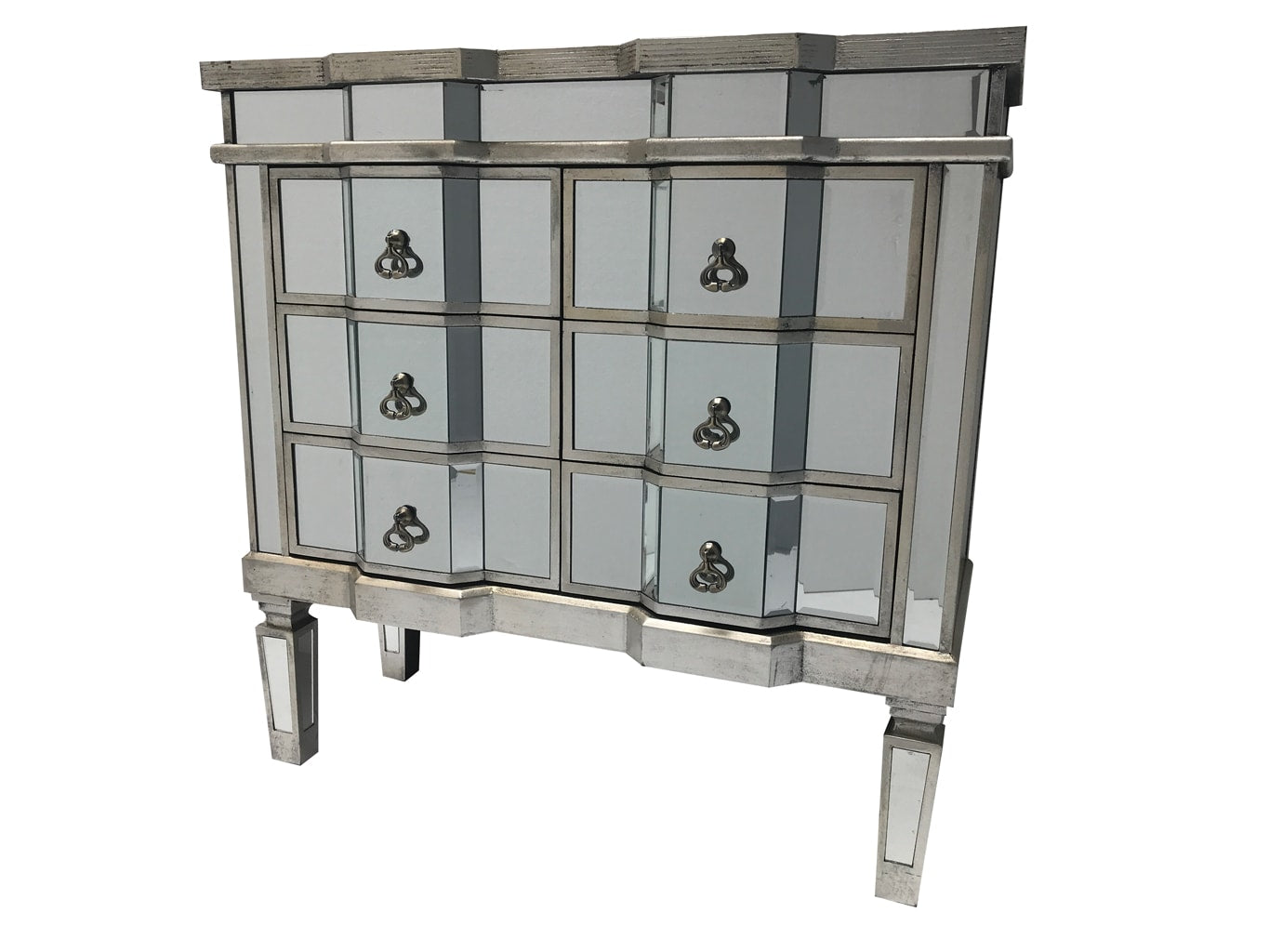 Charleston mirrored chest of drawers, 6 drawers, antique silver finish