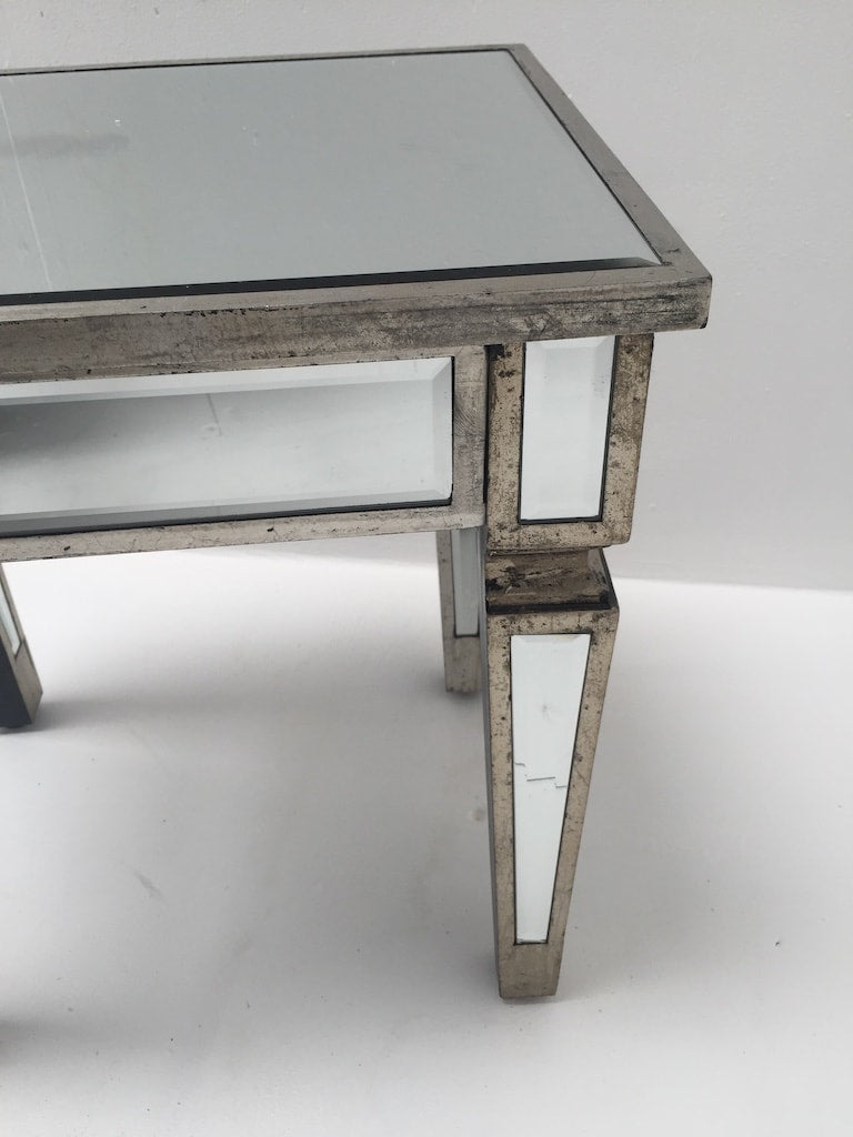Charleston Mirrored stool with an antiqued silver wooden edge, wood and mirror, antique silver finish
