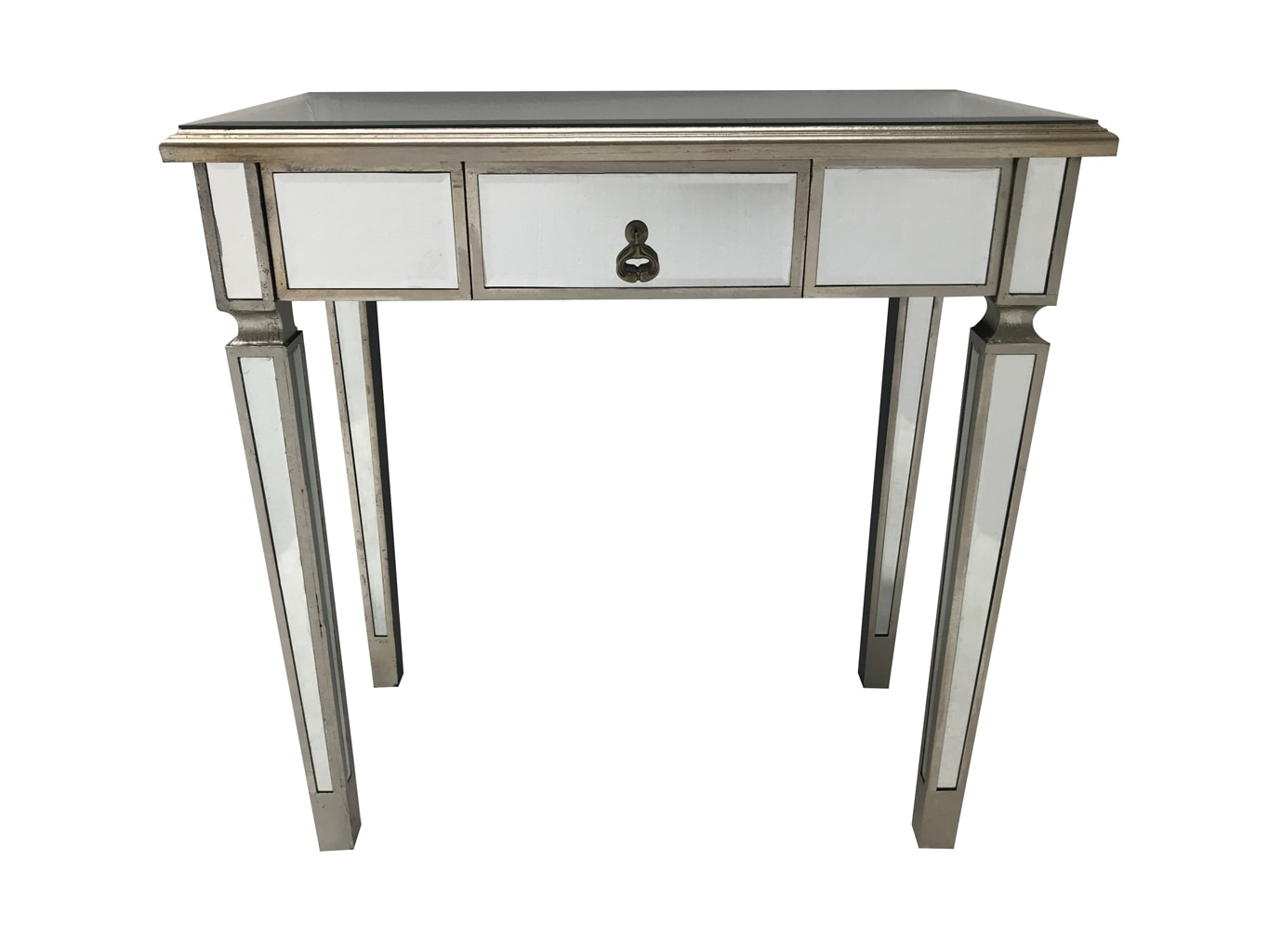Charleston Mirrored Console Table with 1 drawer, slim design, drop shaped handle, antiqued silver finish, wood and mirror