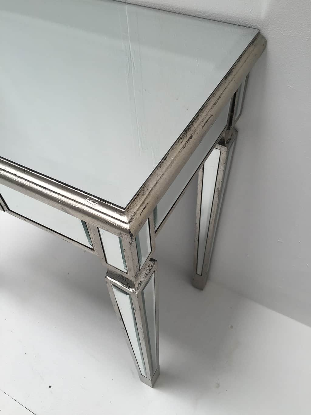 Mirrored Console Table with one drawer, slim design, drop shaped handle, antiqued silver finish, wood and mirror