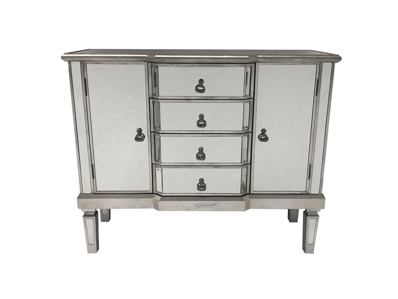 Charleston Mirrored Sideboard with 4 Drawers and 2 Cupboards, brass drop handles, wood and mirror, antiqued silver.