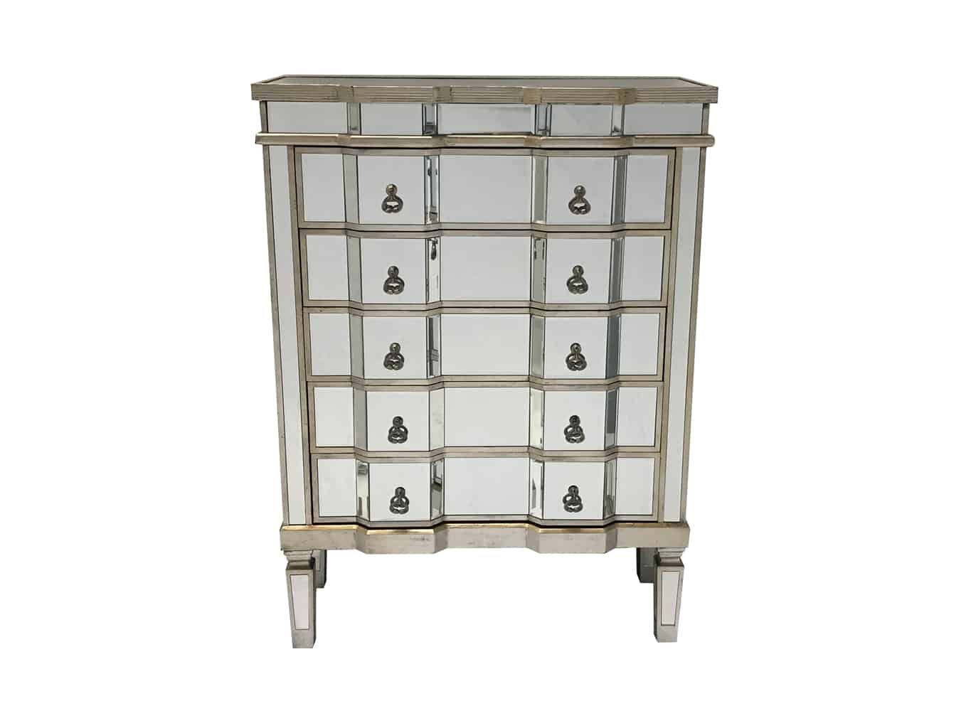 Charleston mirrored chest of 5 drawers, wood and mirror, silver finish