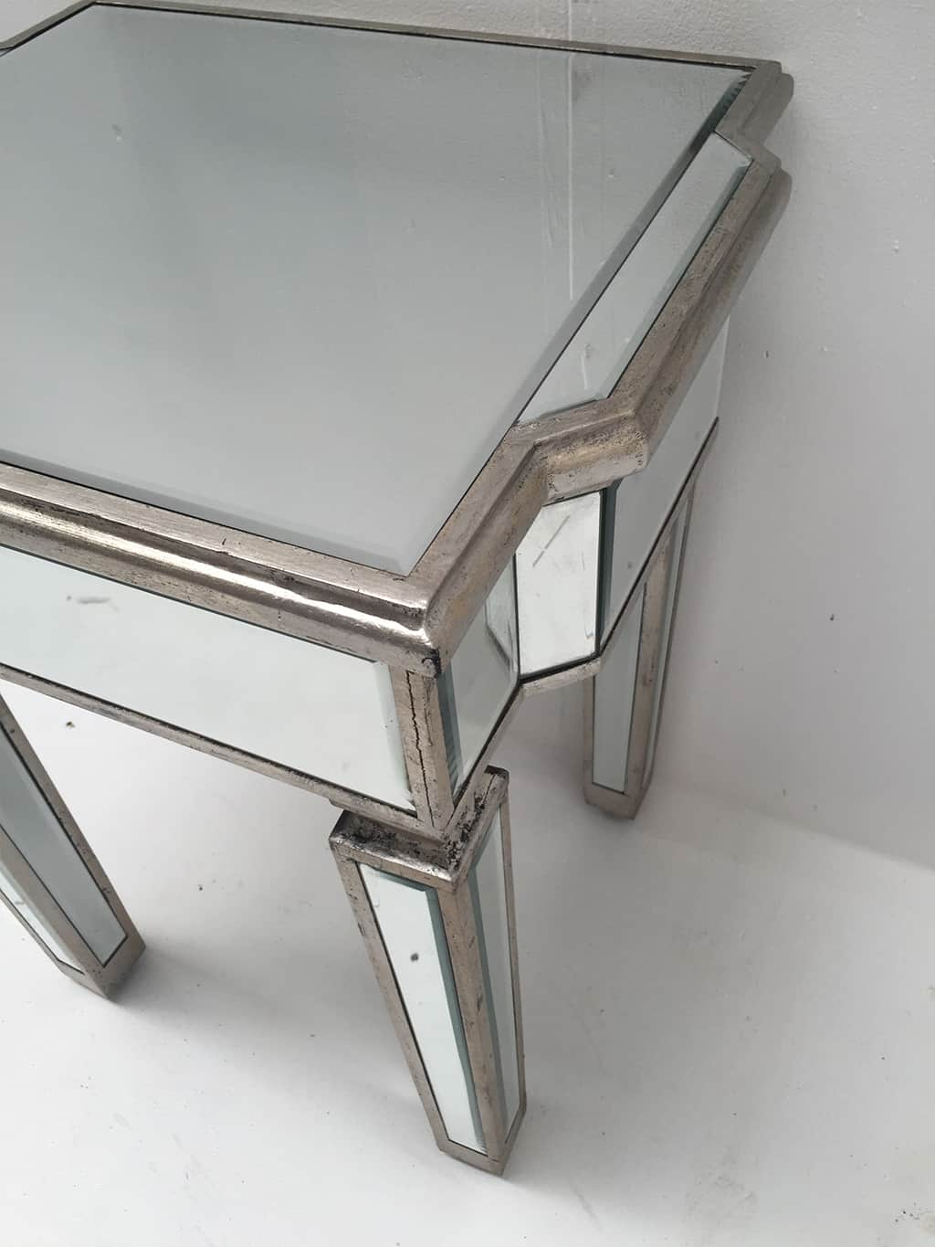 Charleston mirrored side table, wood and mirror, antiqued silver finish