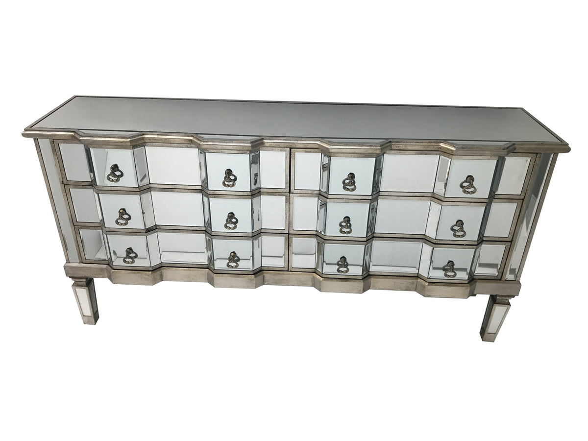 Charleston mirrored chest with 6 long drawers, brass drop handles, wood and mirror, antiqued silver.