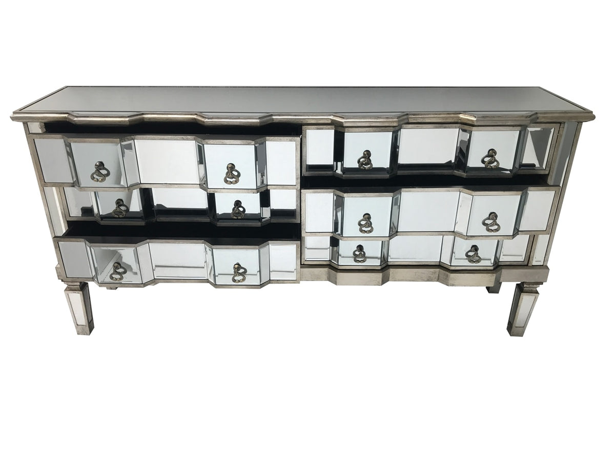 Mirrored chest with 6 long drawers, brass drop handles, wood and mirror, antiqued silver.
