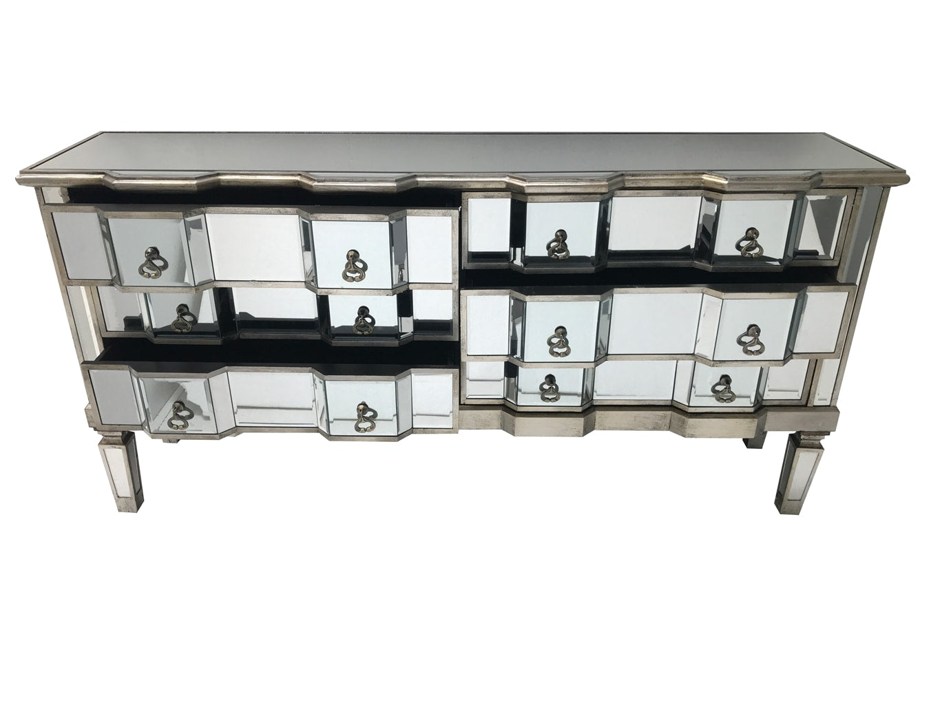 Charleston mirrored chest with 6 long drawers, brass drop handles, wood and mirror, antiqued silver