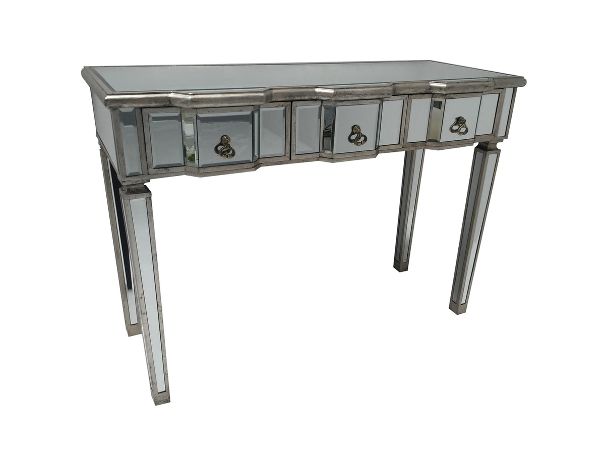 Mirrored Console Table with 3 drawers, vintage silver wood edging, glass top, tapered legs and drop ring drawer pulls