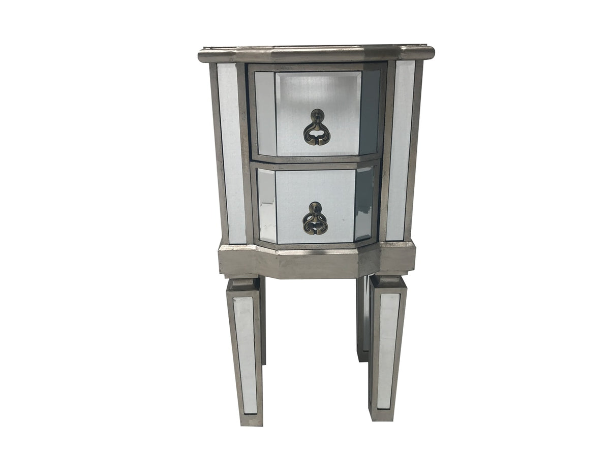 Charleston Mirrored Bedside Table with 2 drawers