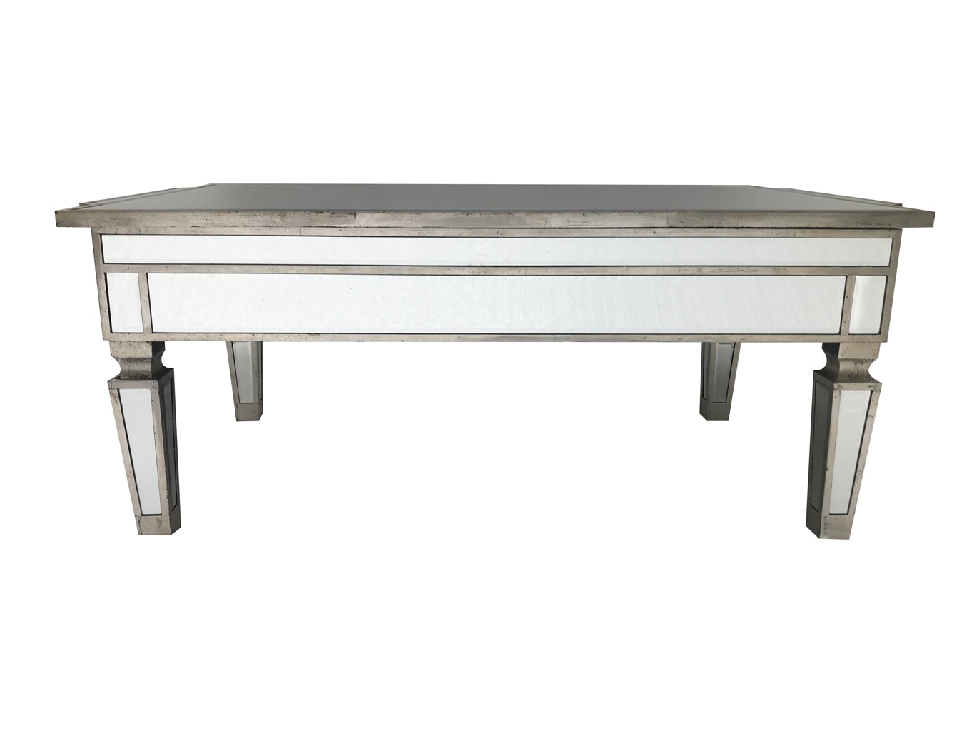Mirrored coffee table with an antiqued silver wooden edging with a bevelled mirror top