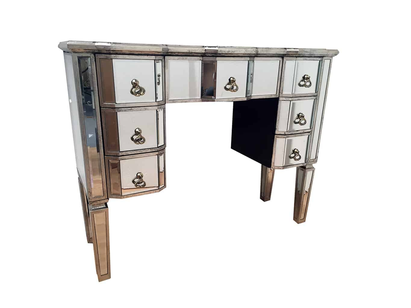 Kneehole Mirrored Dressing Table with 7 Drawers, vintage silver wood edging, all mirrored panels are bevelled, toughened mirrored glass, brass drop handles.