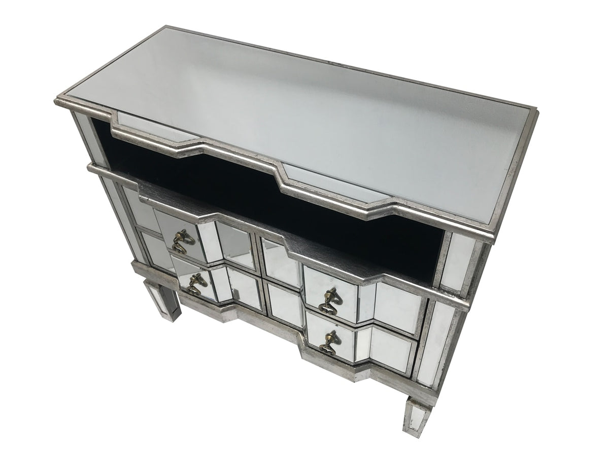 Mirrored TV Unit with 4 Drawers and a Shelf - Charleston Silver Finish