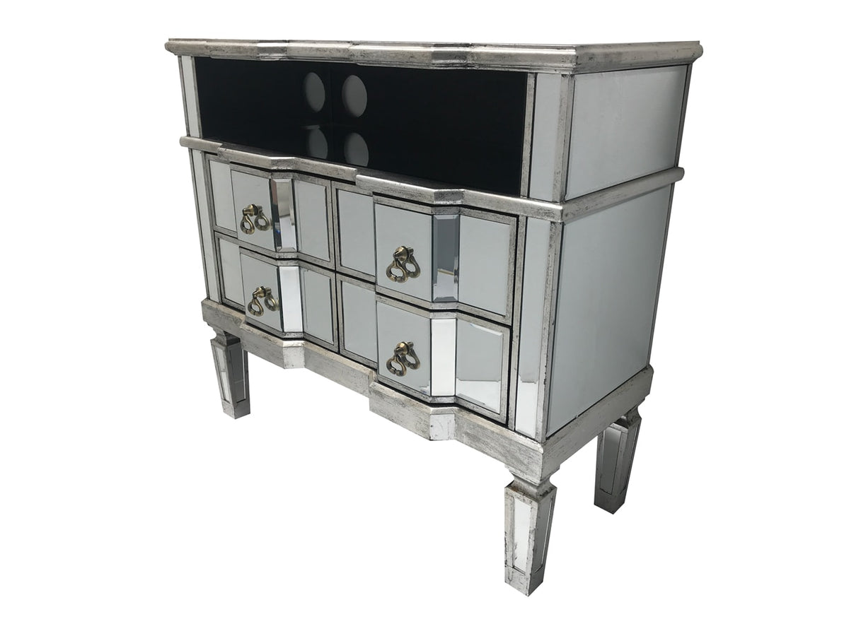 Charleston mirrored media unit, 4 draws, brass drop handles, cord openings, wood and mirror, antiqued silver.