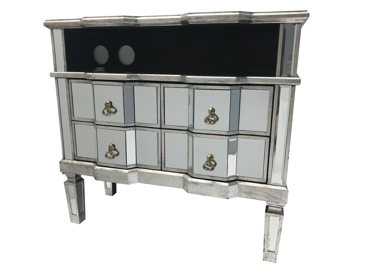 mirrored media unit, 4 draws, brass drop handles, wood and mirror, antiqued silver.